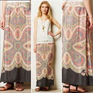 Vanessa Virginia Silk Paisley Palme Maxi Skirt M